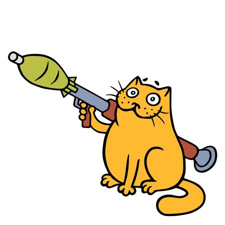 War cat with a grenade launcher. Vector Illustration. Cute orange cartoon pet character.