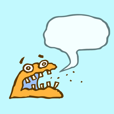 Orange monster sponge with speech cloud. Funny cartoon characters. Vector illustration.