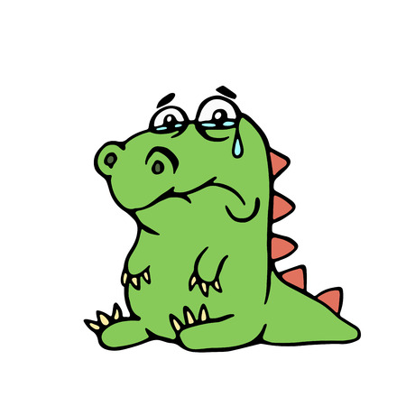 cute unhappy dinosaurr illustration. melancholy cartoon character.