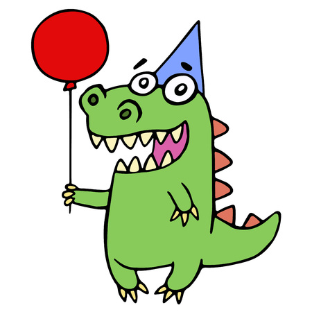 Happy birthday greeting dragon illustration. Cute kind cartoon character. Stock Photo
