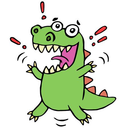 Lucky smiling dinosaur. Cute cartoon happy character illustration. Stock Photo