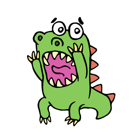 Scared dinosaur illustration. Cute screaming character.