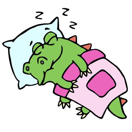 ベッドイラストで眠るドラゴン。かわいい漫画のキャラクター。
