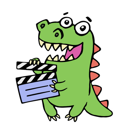 Cute smiling dinosaur with movie clapper board illustration. Funny imaginary character.