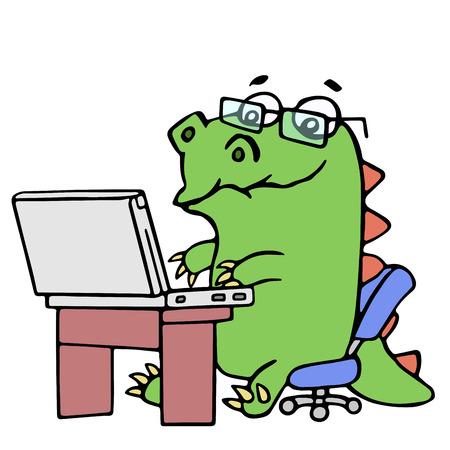 노트북 그림에서 일하는 귀여운 공룡 우울 만화 캐릭터입니다. 별도 레이어에 안경입니다.