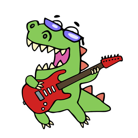 Rock star dinosaur playing the electric guitar illustration. Glasses on a separate layer.