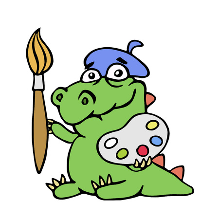 Cute dinosaur artist painter with brush and palette of colors. Cartoon character illustration.