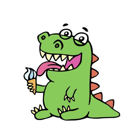 Cute dinosaur eating ice cream illustration. Cartoon character.