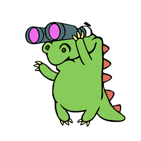 Cute dinosaur looking through binoculars illustration. Funny cartoon character.