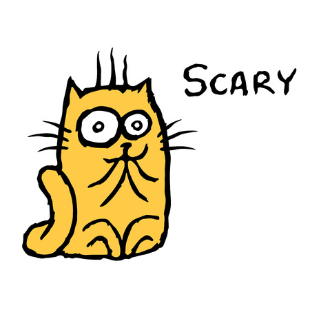 Scared orange cat Tik. Vector illustration. Cheerful cartoon pet. Illustration