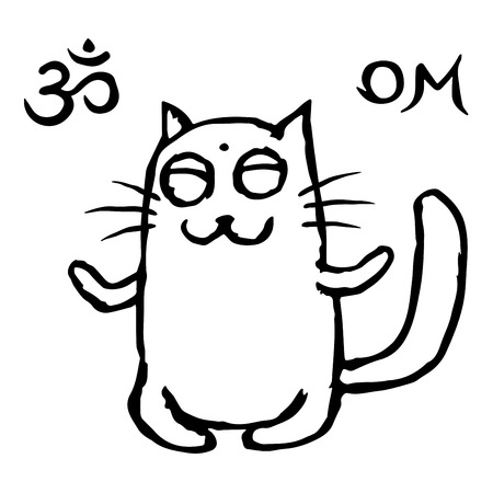 Funny cat Tik meditates in the lotus position. Vector illustration. Om sign and symbol. Cute pet character. Illustration
