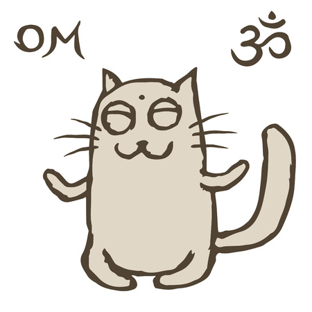 Cartoon cat Tik sits immersed in nirvana. Om sign and symbol. Vector illustration. Cute pet character. Фото со стока - 92787659