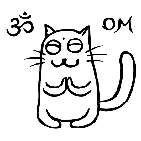 Funny cat Tik buddhist in harmonous. Vector illustration. Om sign and symbol. Cute pet character.