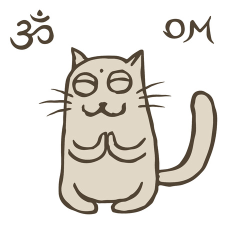 Cartoon cat Tik reached enlightenment. Om sign and symbol. Vector illustration. Cute pet character. Illustration