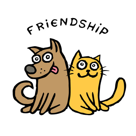 Friendship dog Kik and cat Tik. Best friends. Vector illustration. Cute cartoon pets characters. Together forever.