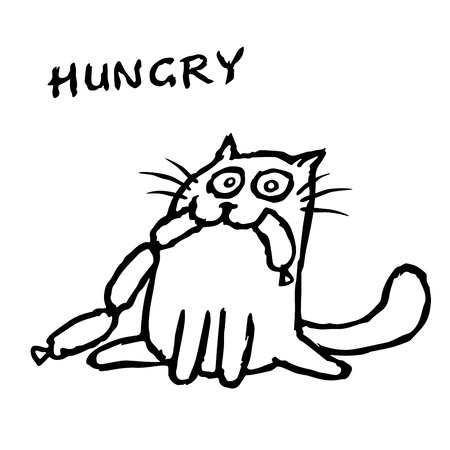 The cat Tik eats sausages. Funny cartoon cool character. Contour freehand digital drawing cute cat. White color background. Isolated vector illustration.