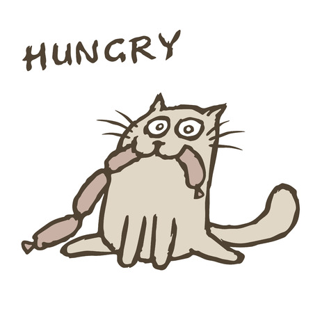 Cat Tik eats sausages. More food. Vector illustration. Funny cartoon character. White color background. Illustration