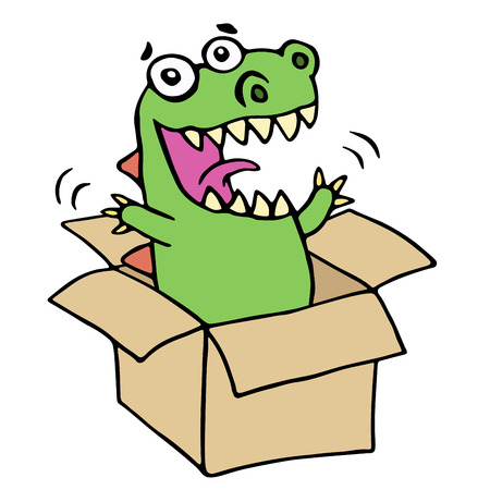 Funny dinosaur jumped out of the box