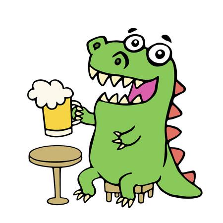 ビールのマグカップで座っている恐竜