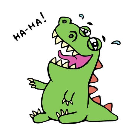 Dinosaur laughs illustration. Unbridled joy