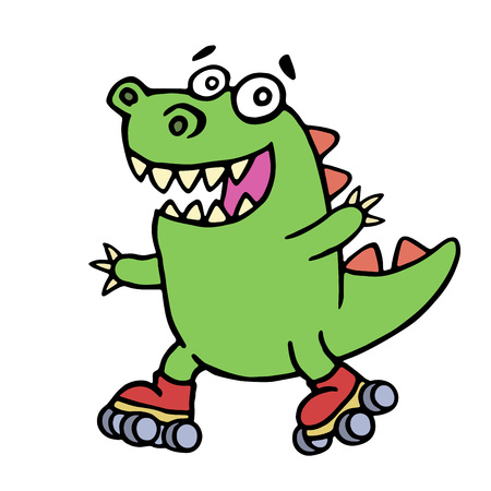 Cute green funny dinosaur rides on rollers. Extreme sports on the street. Vector illustration. Illustration