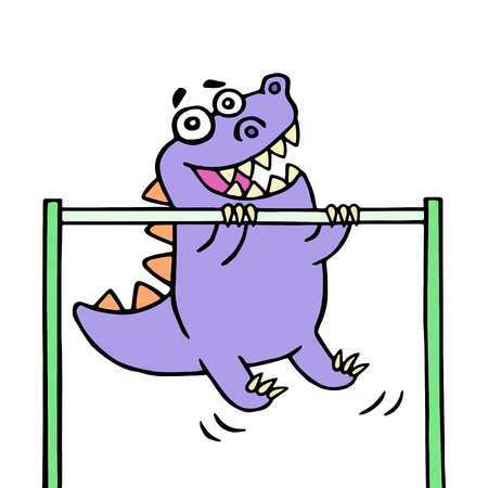 Dino stretches up on the horizontal bar on the sports ground. Sport and a healthy lifestyle. Vector illustration.