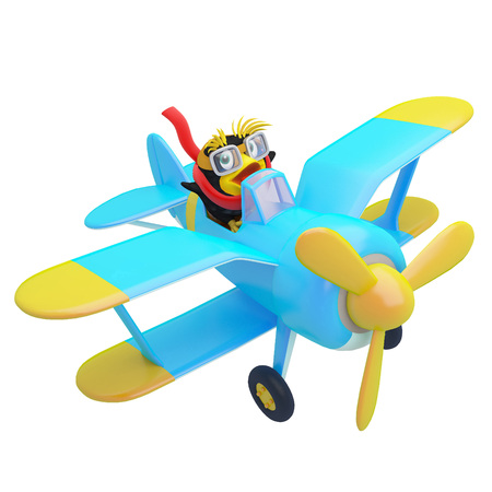 Cute little penguin flies on blue airplane in the sky. Cheerful 3d illustration on white background.