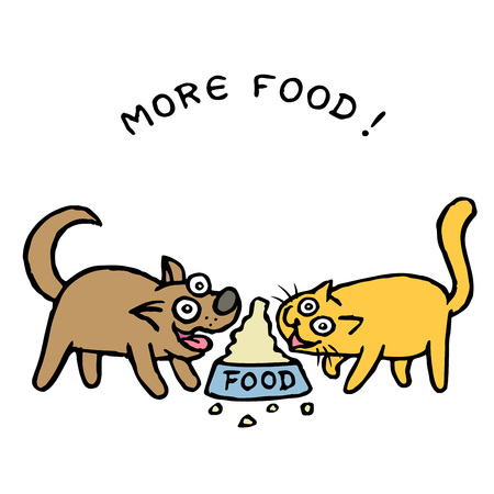 Cute dog Kik and cat Tik divide food from one bowl. Vector illustration. Best friends. Together forever. Cartoon pets characters. Illustration