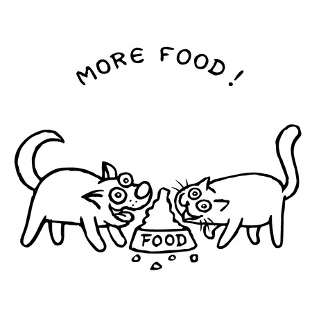 Dog Kik and cat Tik eat together with one bowl. Vector illustration. Best friends. Cute cartoon pets characters.