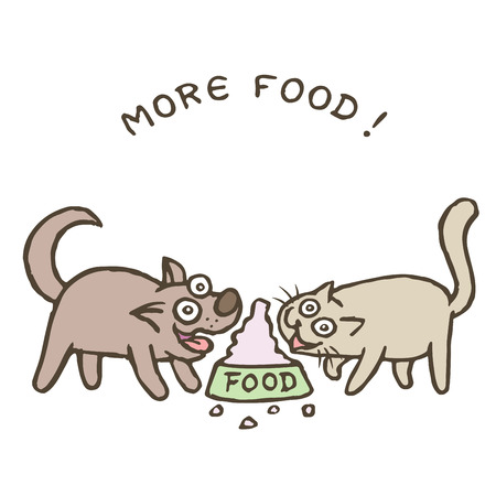 Cartoon dog Kik and cat Tik run to a huge bowl with a bunch of food. Vector illustration. Best friends. Together forever. Cute pets Illustration