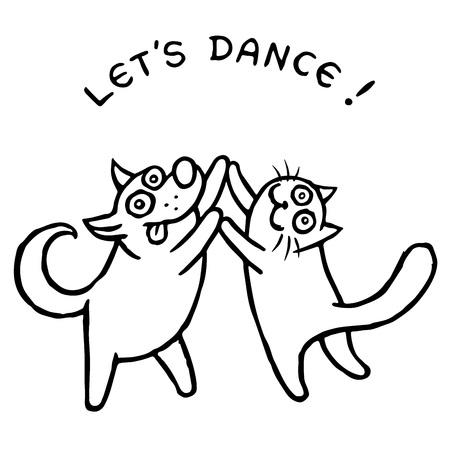 Dog Kik and cat Tik dancing together. Vector illustration. Best friends. Cute cartoon pets characters.