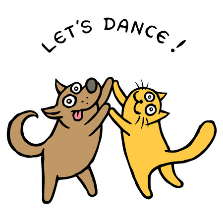 Cute dog Kik and cat Tik dancers. Vector illustration. Best friends. Together forever. Cartoon pets characters.