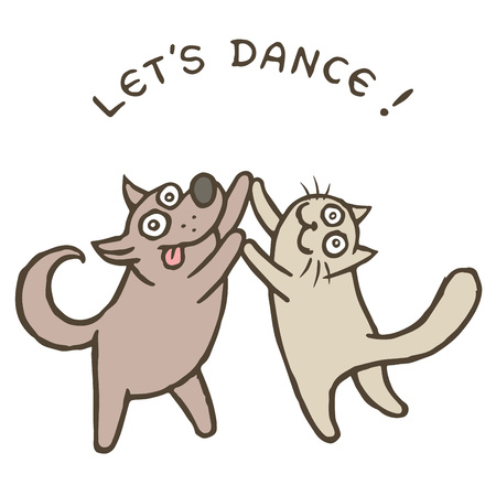 Cartoon dog Kik and cat Tik dancers. Vector illustration. Best friends. Together forever. Cute pets characters.