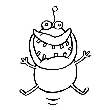 Funny cheerful monster is lucky. Holidays and vacations. Cute cartoon character. Vector illustration. Ilustração