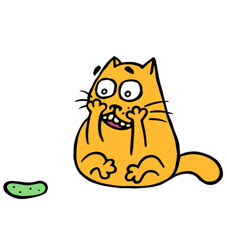 Cute cat turned and was frightened of the terrible cucumber. Funny cartoon animal character.