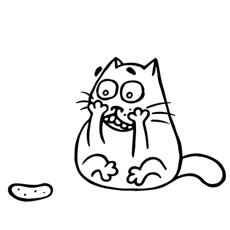 Cat is shocked by the cucumber. Funny cartoon cool character. Contour freehand digital drawing.