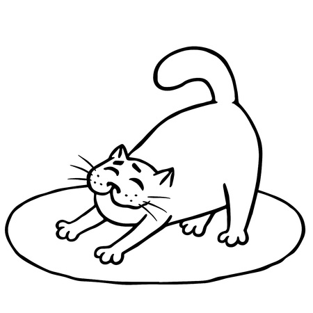 Sleepy cute cat woke up and stretched on rug. Good morning. Contour freehand digital drawing.