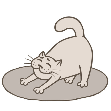 Cute grey cat woke up and stretched on mat. Vector illustration. Funny cartoon animal character. Illustration