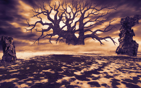 폐허와 개간에 큰 죽은 나무. 자연 재해와 종말 이후의 주제. 주황색. 일몰에 떠있는 구름.