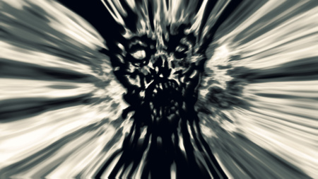 Cruel gray zombie face cover. Image with blur effect. Illustration in genre of horror.
