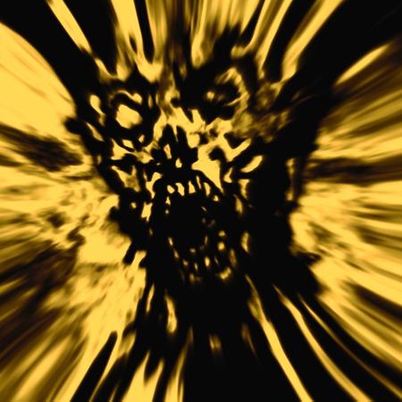 Cruel zombie head. Horror yellow illustration
