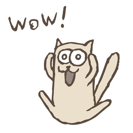 Cartoon cat Tik screaming Wow. Vector illustration. Funny imaginary character.