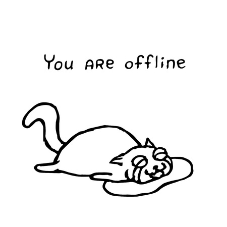The upset cat Tik lies in tears. You are offline. Vector illustration. Cute pet character. Play with me.