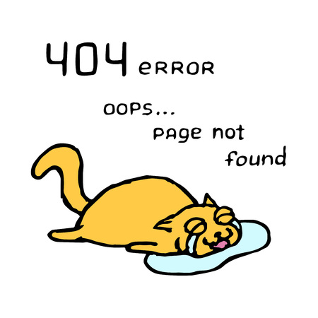 Upset orange cat Tik lies in tears. 404 error. Oops page not found. Vector illustration. Cute pet character. Vectores