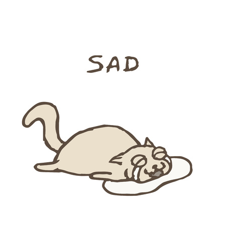 Sad gray cat Tik lies in tears. Bad day. Vector illustration. Cute pet character. Illustration