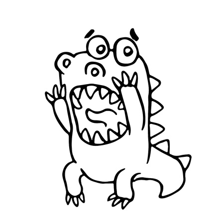 Cartoon screaming dragon illustration. Funny cute scared character. 版權商用圖片