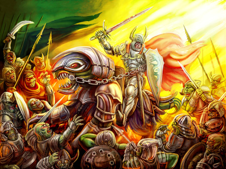 A knight rides a dragon on a crowd of orcs. Colourful picture in the genre of fantasy.
