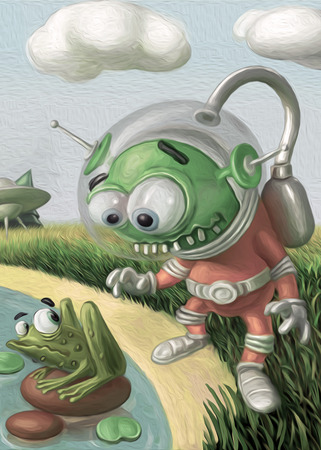 Funny alien in the suit looks at the frog. Cute cartoon original character. Stock fotó