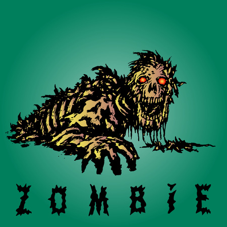 Scary zombie reaches out with his hand. Genre of horror. Scary monster character on green background. Vector illustration.
