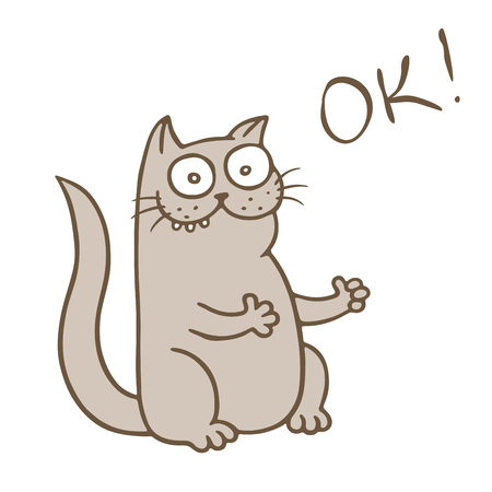 Funny cat puts on the likes. It was wonderful. Vector Illustration. Cute cartoon pet.